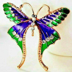 Glamorous Long Wings BUTTERFLY Rhinestone Brooch